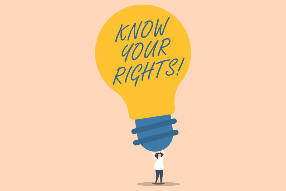 lightbulb proclaiming know your rights